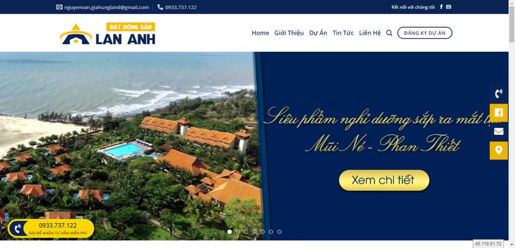 Thiết kế website bất động sản – mẫu 4557