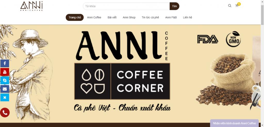 Thiết kế website cửa hàng cafe Anni Coffee