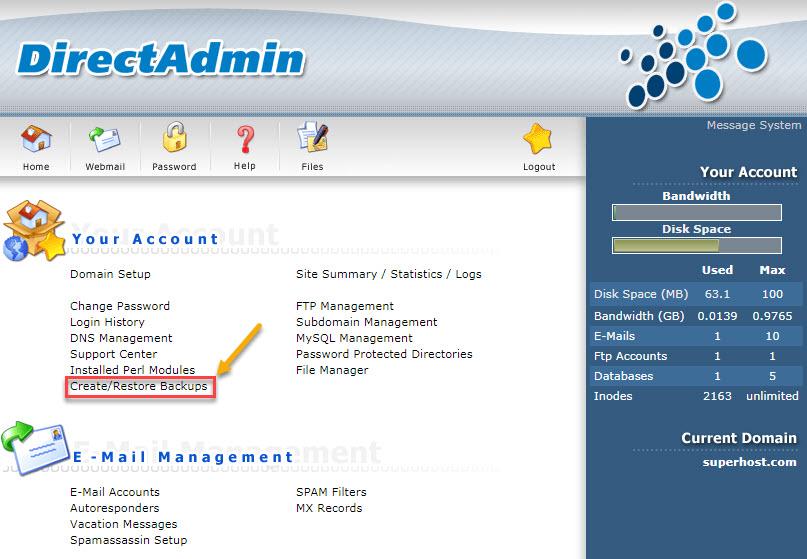 Phần mềm quản trị Hosting DirectAdmin