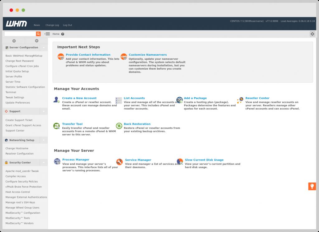 Phần mềm WHM quản lý việc tạo Hosting