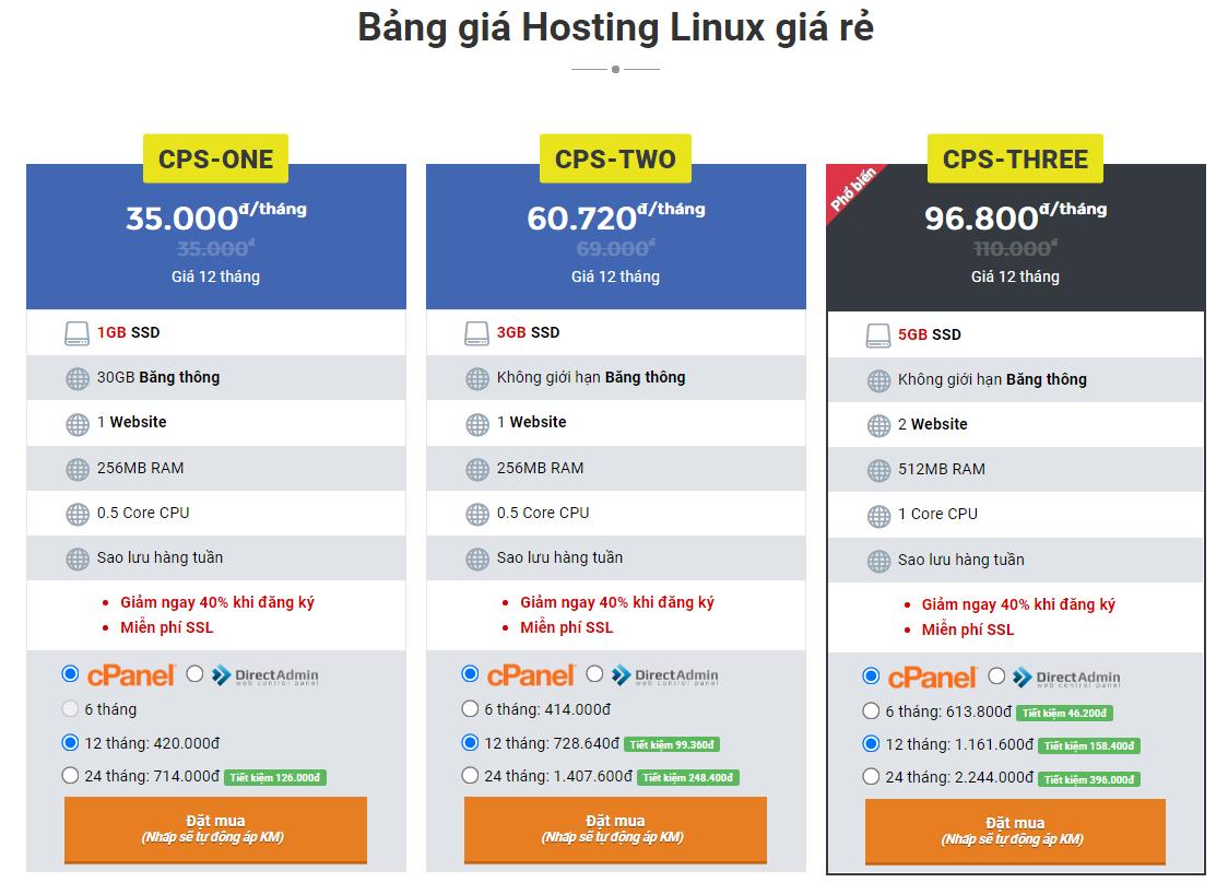 Bảng giá hosting giá rẻ chỉ từ 35.000đ/tháng