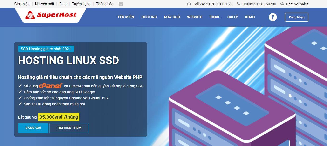 Giao diện website của nhà cung cấp Hosting SuperHost